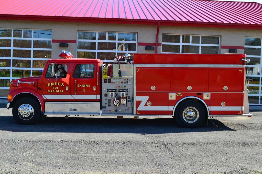 2001 International class A quad-cab pumper.  First run on all structure and vehicle fires.  Carries 1,500 gallons of water, 25 gallons of foam, and a 1,250 gallons per minute pump
